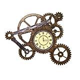 Fudeer Engranaje del Reloj de Pared de la decoración, de Estilo Retro Industrial Reloj de Cuarzo, los números Romanos en Silencio y no tictac la decoración del hogar