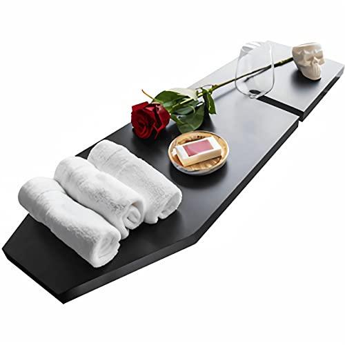 Wood Coffin Shelf Bath Caddy Tray Large for Halloween Bathroom Decor - Luxury Gothic Coffin Furniture - Vampire Goth Bathtub Table Shower Trays Board Rack - Size 30''x 11''