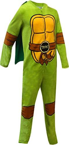 Bioworld Merchandising Men's Teenage Mutant Ninja Turtle Fleece One Piece Pajama with Cape (Large) Green