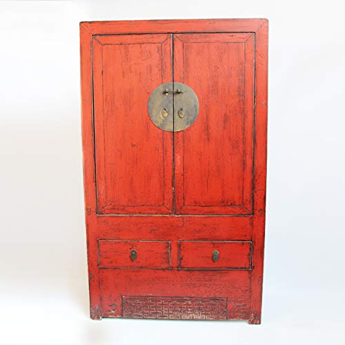 Great Features Of Design MIX Furniture Antiqued red Lacquer Armoire. Large Cabinet with Lots of Stor...