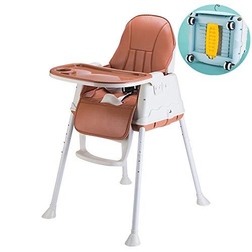 Trona para bebés y niños pequeños, ajustable, plegable, bandeja extraíble, limpia, cómoda para niños y niñas de 6 meses a 4 años (D)