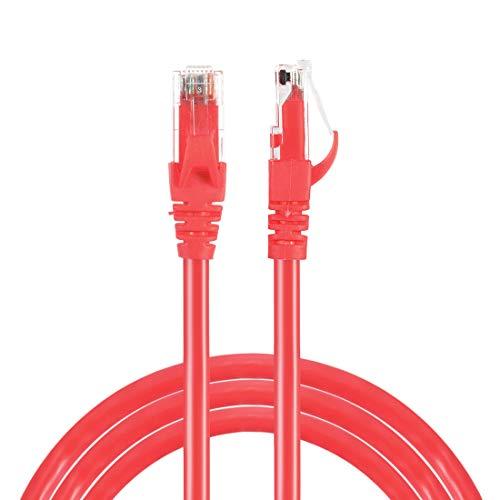 sourcing map Cable Ethernet Cat6 de 2 piezas, cable de conexión Ethernet RJ45 Cat6 0.5m/1.6ft - rojo