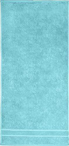 Erwin Müller Walk-Frottier Handtuch, Serie Leonberg türkis Größe 50x80 cm - besonders hochwertige und Ultra saugstarke Qualität, praktisch durch beidseitige Schlaufen, 100% Baumwolle
