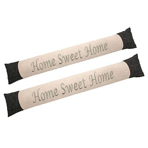 Valia Home 2 x Zugluftstopper im Doppelpack Durchzugstopper Windstopper für Türen und Fenster mit Sand beschwert beige-grau Home Sweet Home 90 cm lang