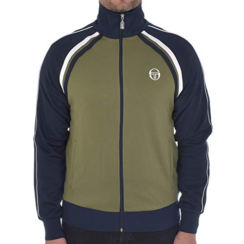 Sergio Tacchini Herren Trainingsanzüge Jacke Mens Track Top Ghibli Retro Adult Casual Track Jacket Olive/Navy 36637 520 New (Large)