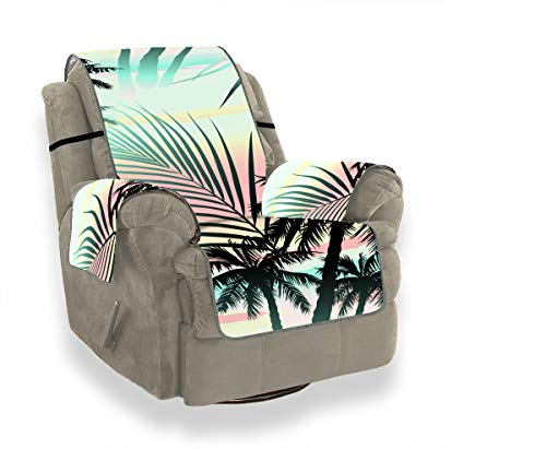 JOCHUAN Tropical Tree Summer Palm Leaves Lodge Sofa Cover Slipcovers for Chairs Waterproof Chair Slipcover Furniture Protector for Pets, Kids, Cats, Sofa