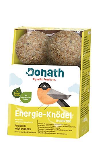 Donath Energie-Knödel Insekten ohne Netz - 6 Meisenknödel ohne Netz (6 x 100g) - der Feinschmecker-Knödel - wertvolles Ganzjahres Wildvogelfutter - aus unserer Manufaktur in Süddeutschland