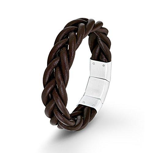 s. Oliver Herren-Armband Lederarmband Edelstahl Leder 22 cm - 540605