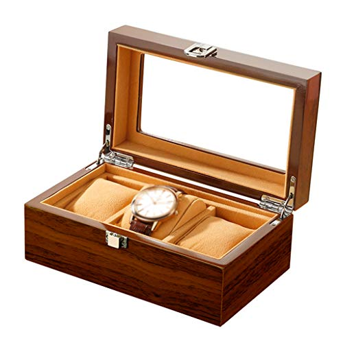 3 sleuven Houten Horloge Doos, Horloge Case met Glas Deksel, Horloge Houder met Afneembare Horloge Kussens, Luxe Sieraden Display met Metalen Sluiting
