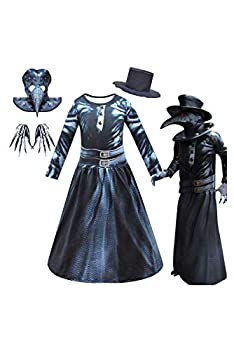 Kids Plague Doctor Costume Outfit Mask Hat Cloak Full Set Halloween Cosplay Steampunk Robe Jumpsuit