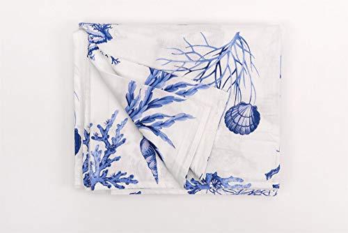 HomeLife - Tela decorativa para sofá con estampado marino de 260 x 280 cm – Calidad Made in Italy – Sábana cubretodo multiusos de algodón – Granfoulard Colcha para cama de matrimonio [azul – 1 plaza]
