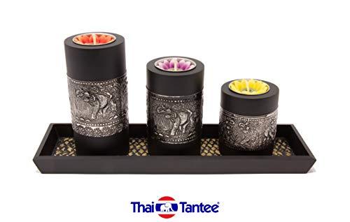 Thai Tantee® handgemachtes Teelichthalter Set mit Motiv, Thai Chang Jungle 3 Generation, Tischdeko-Set mit Kerzenständer für 3 Teelichter, Asia-Deko aus nachhaltigen Materialien