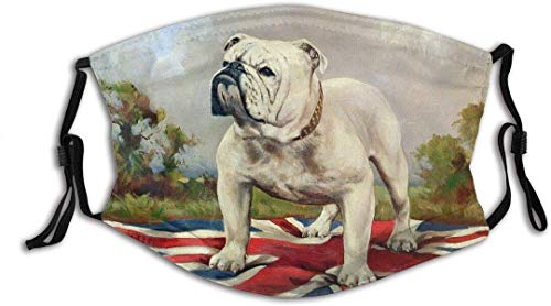 White Bulldog English School Dog Outside Outdoors Collar Standing British F-lag Trees Clouds Cotton Washable Nose Wired Face Cover Pocket Wide Cover with