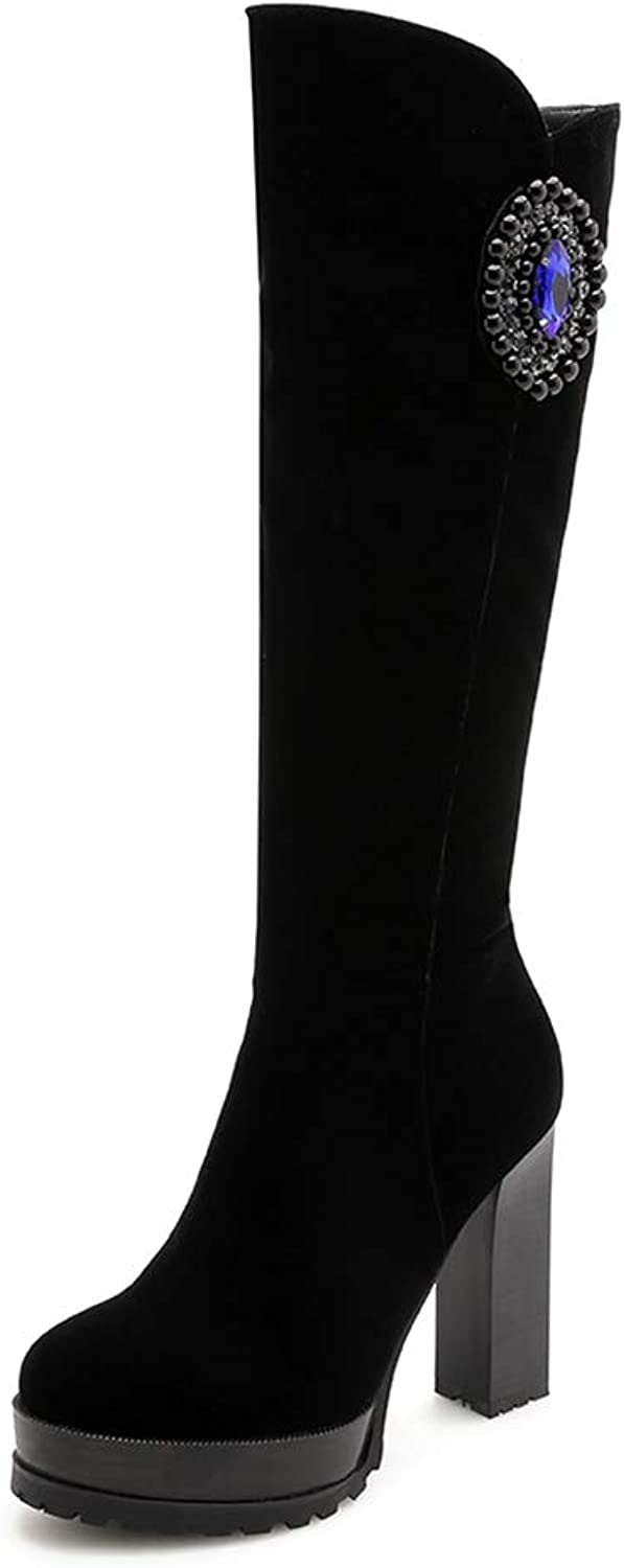 T-JULY Womens Nubuck Faux Suede Knee Boots Square High Heel Platform shoes Girls Rhinestone Beaded Knight Booties