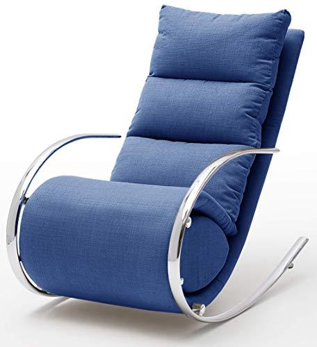 Robas Lund Relaxsessel Relaxliege Wohnzimmer Schaukelstuhl York, Webstoff Blau