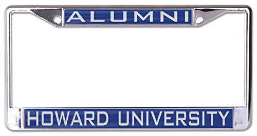 WinCraft Howard University Alumni Premium License Plate Frame, Metal with Inlaid Acrylic, 2 Mount Holes, Blue