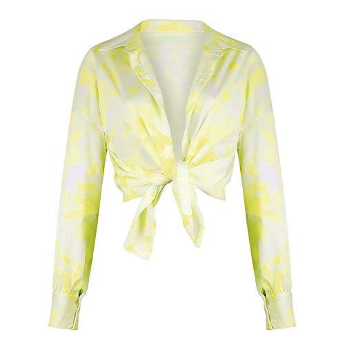 NOBRAND New Beauty Explosion Models Printed Long Sleeve Revers Shirt Gr. Large, gelb