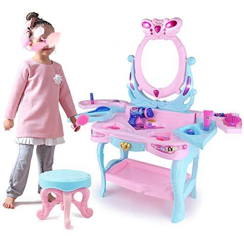 MAATCHH Kosmetikkoffer Kinderspielhaus Spielzeug-Set Simulation Prinzessin Mädchen Dressing Tabelle 3-6 Jahre alt Puzzle Make Up Desk Toy (Color : Pink, Size : 46x31x82cm)