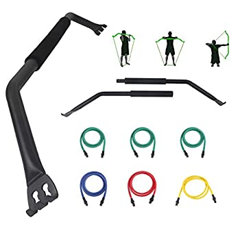 Jandecfit Workout Bow/Bow Portable Home Gym Resistance Bands and Bar System with 6 Resistance Bands,Weightlifting Training Kit Full Body Workout Equipment Home Gym System.
