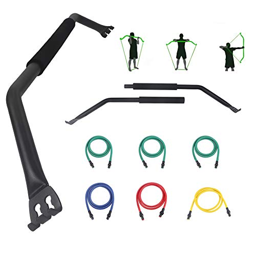 Jandecfit Workout Bow/Bow Portable Home Gym Resistance Bands and Bar System with 6 Resistance Bands,Weightlifting Training Kit, Full Body Workout Equipment Home Gym System.