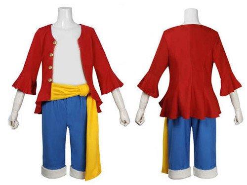 Japanische Anime One Piece Cosplay - 2 Jahre später Monkey D. Ruffy Kostüm , Größe M :(Höhe 161-165cm, Gewicht 50-60 kg)