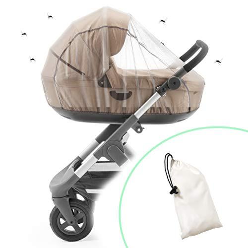 ecolly Protección universal contra insectos para carritos, cochecitos y portabebés, red antimosquitos resistente y transpirable con goma elástica, incluye bolsa, color blanco