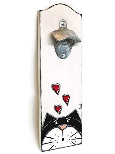 Flaschenöffner mit schwarz-weißer Katze, Flaschenöffner für Bier- und Sodaflaschen, an der Wand befestigter Flaschenöffner Flaschenöffner aus Holz und Metall mit Schwarzweiss-Katzenkopf.