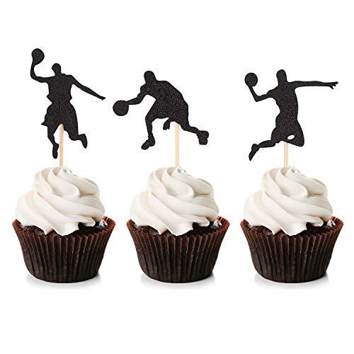 Unimall Global 24Pcs Basketball Cupcake Toppers Glitter Basketball Kuchen Topper Cake Dekoration Picks Star Cake Topper für Sport Thema Baby Shower Geburtstagsfeier Dekor Zubehör