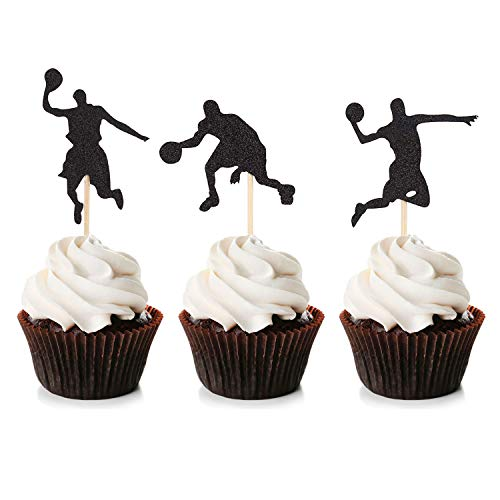 Unimall Global 24Pcs Basketball Cupcake Toppers Schwarz Glitter Basketball Party Dekoration Picks Star Cake Topper für Sport Thema Baby Shower Geburtstagsfeier Dekor Zubehör