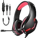 Auriculares para juegos con sonido envolvente 7.1, altavoz de 40 mm, micrófono con cancelación de ruido USB h y luz LED, conector de 3,5 mm, control de volumen, para PC, PS4, controlador Xboxs One