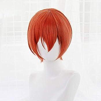 Junww Love Live Rin Hoshizora Cosplay Wigs Short Orange Heat Resistant Synthetic Hair Perucas Cosplay Wig+Wig cap