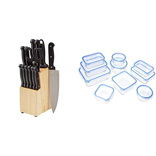 AmazonBasics - Juego de cuchillos de cocina y soporte (14 piezas) + Recipientes de cristal para alimentos, con cierre 20 piezas (10 envases + 10 tapas), sin BPA