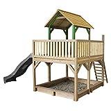 AXI Spielhaus Atka mit Sandkasten & Grauer Rutsche | Stelzenhaus in Braun & Grün aus FFC Holz für Kinder | Spielturm mit Wellenrutsche für den Garten