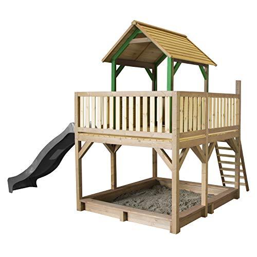 AXI Spielhaus Atka mit Sandkasten & grauer Rutsche   Stelzenhaus in Braun & Grün aus FSC Holz für Kinder   Spielturm mit Wellenrutsche für den Garten