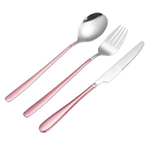 Juego De Tenedor, Cubiertos De Acero Inoxidable, Tenedor De Acero Inoxidable De 21 Cm, Tenedor De Acero Inoxidable De Cabeza Redonda, Juego De 3 (Color : Pink)