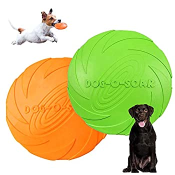 Disque Chien,frisbees pour Chien,2 Pcs Frisbee Jouet Chien,pour Jeux Sport Exercice Activité et Jeu en Plein,pour Petits et Moyens Chiens (Bleu*Orange) (L)