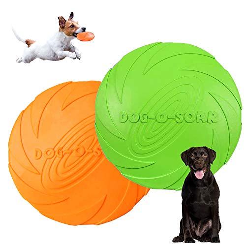 Hunde Frisbees,Hund Scheibe,2 Stück hundespielzeug Frisbee,Gummi Frisbee,für Land und Wasser,Hundetraining, Werfen, Fangen & Spielen(Grün + Orange)(L)