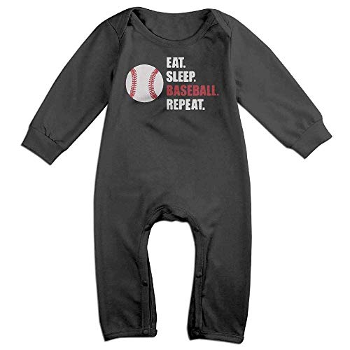 TOPDIY Eat Sleep Baseball Repeat Long Sleeve Baby Bodysuit Bodysuit