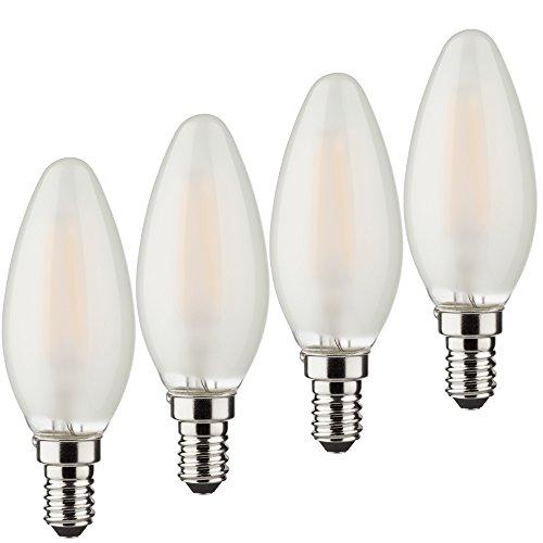 MÜLLER-LICHT 4er-SET Retro-LED Lampe Kerzenform, ersetzt 40 W, Glas, E14, weiß, 3.5 x 3.5 x 9.8 cm