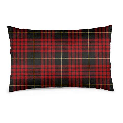 Lesif Samt-Kissenbezüge, rechteckig, weich, dekorativ, für Sofa, Schlafzimmer, Auto, 40,6 x 61 cm (Macqueen Tartan)
