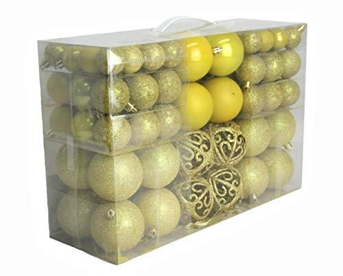 Geschenkestadl 100 palline per albero di Natale, fino a Ø 6 cm, colore: giallo