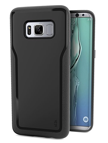 Smartish Galaxy S8 Grip Case - Kung Fu Grip Lightweight Protective Slim Samsung Cover -(Silk) - Black Onyx