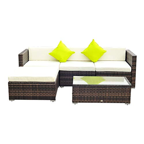 Outsunny 5PC Rattan Furniture Set Garden Outdoor Sectional Sofa Coffee Table Combo Patio Furniture Metal Frame w/Cushion Pillows Brown