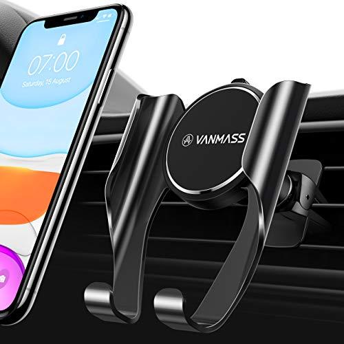 VANMASS Handyhalterung Auto Handyhalter fürs Auto Lüftung Memory-Funktion Autohalterung mit 2 Patentiertet Lüftungsclips Universale Smartphone Kfz Handyhalterung für Samsung iPhone Huawei Xiaomi LG