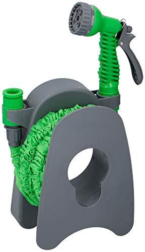 Kinzo Garten verlängerbar Sprinkler | 15m Flexibler Flexi | Magic Gartenschlauch | Flexischlauch mit Gartenbrause Schlauchhalter | mit Wandhalterung und Anschlussstück