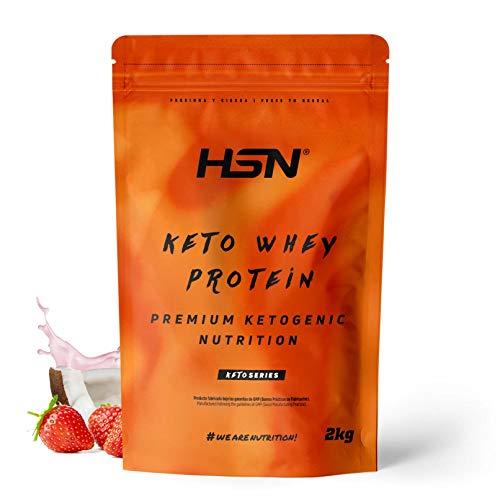 Keto Whey Protein   Aislado de Suero CFM + Aceite MCT de Coco + Enzimas Digestivas Digezyme   Grass-Fed   Apto Vegetariano, Sin Gluten, Sabor Fresa-Coco, 2 Kg