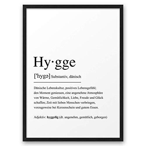 HYGGE I Definition ABOUKI Kunstdruck Poster Bild Geschenk-Idee für Sie Ihn Frauen Männer Freund Freundin Liebes-Paar optional mit Holz-Rahmen
