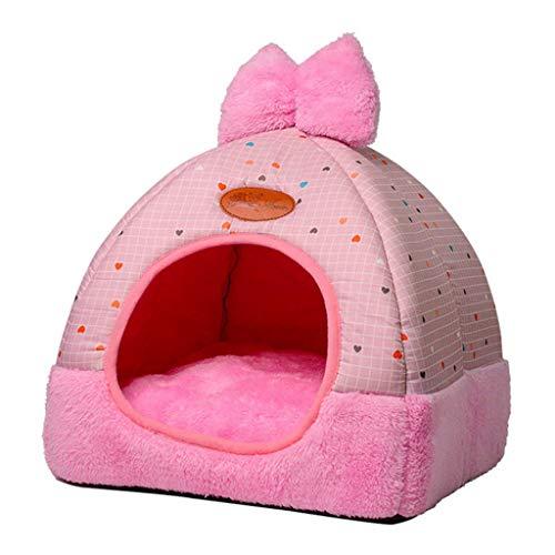 Qintaiourty Katzenbett Katzenhaus, Herbst Winter Neue Katze Warm Nest House Closed Folding Kleine Hunde Villa Pet Kennel
