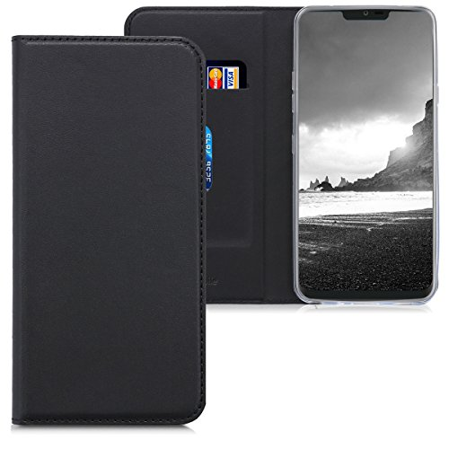kwmobile Hülle kompatibel mit LG G7 ThinQ/Fit/One - Kunstleder Handy Schutzhülle - Flip Cover Hülle Schwarz