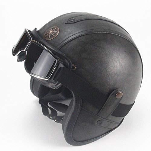 LP Vier Jahreszeiten Retro Helm handgefertigt Persönlichkeit Retro Leder Helm Motorrad Motor Auto 3/4 halben Helm Männer und Frauen